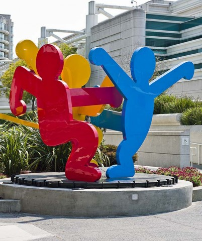 Keith Haring, Untitled (Three Dancing Figures), 1989. Collection of the City and County of San Francisco. Keith Haring artwork © The Keith Haring Foundation  Keith Haring: The Political Line 2014haring moscone v11 0
